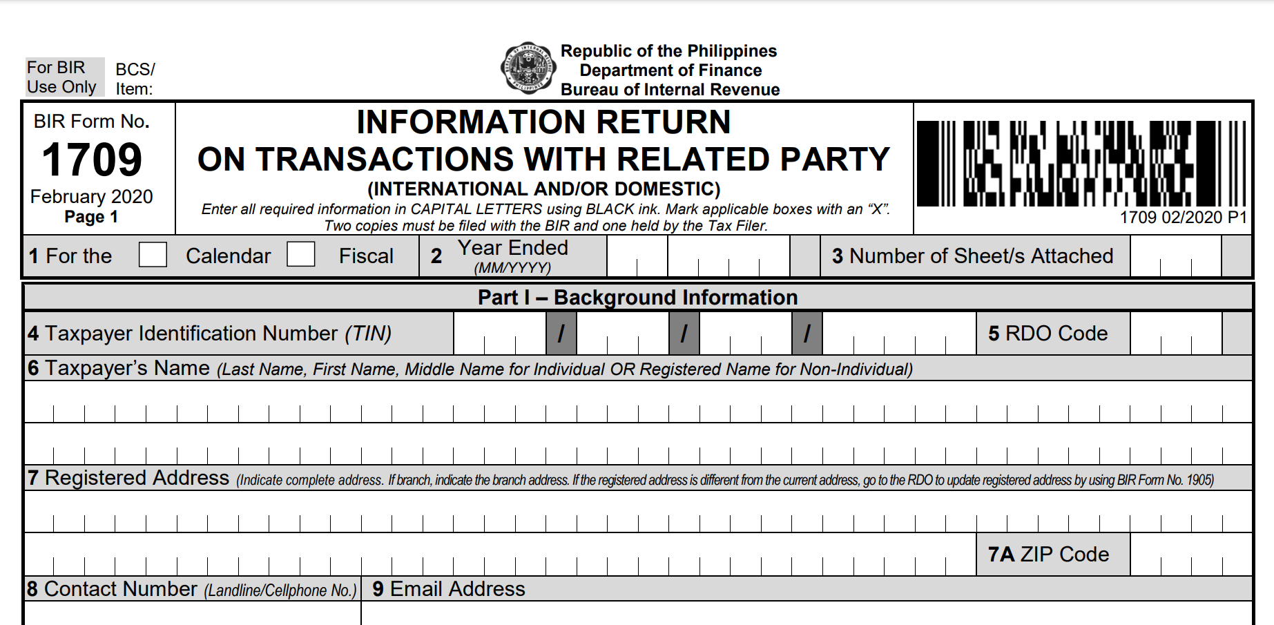 NEW BIR FORM 1709