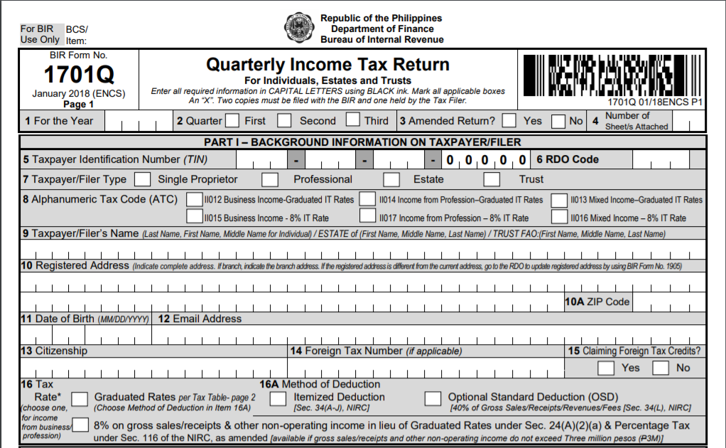 Thing to Know About BIR Form 1701Q or Quarterly Income Tax Return
